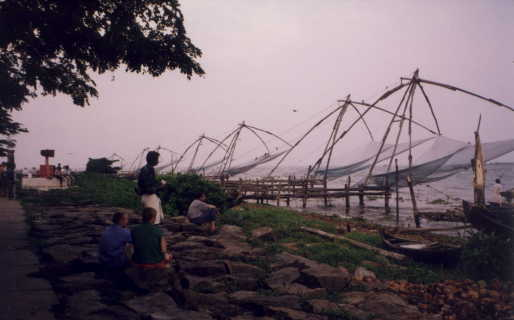 A row of Chinese fishing net
